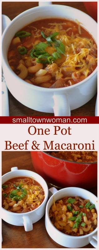 One Pot Beef and Macaroni Chili Recipe from Small Town Woman