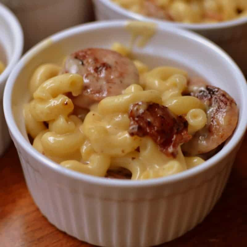 Creamy macaroni and cheese with bacon and sausage