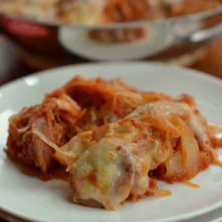 Cheesy Chicken Sausage Spaghetti Squash Bake