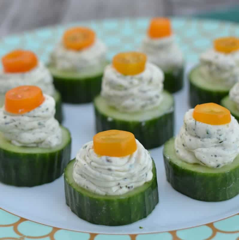 These cream cheese cucumber bites are a fresh snack that's full of flavor