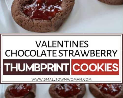 Valentine Chocolate Strawberry Thumbprint Cookies