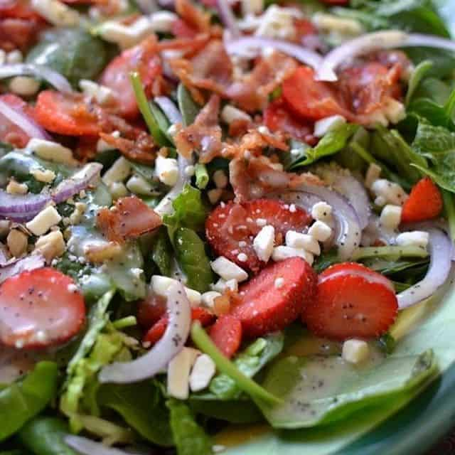 I love a good salad! Strawberry Bacon Salad with Honeyhellip