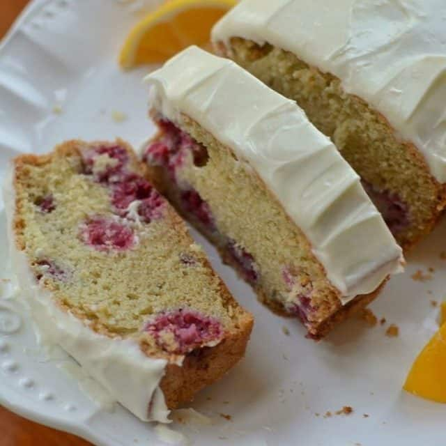 This delectable Raspberry Lemon Bread with Lemon Cream Cheese Frostinghellip