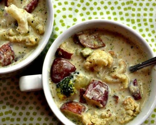 Broccoli and Cauliflower Cheese Soup