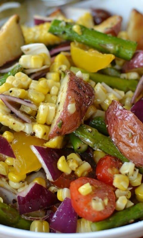 Roasted Vegetable Salad with Lemon Vinaigrette | Small Town Woman