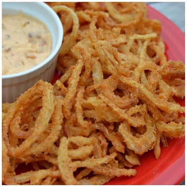 Onion Straws with Chipotle Pepper Aioli These little guys arehellip