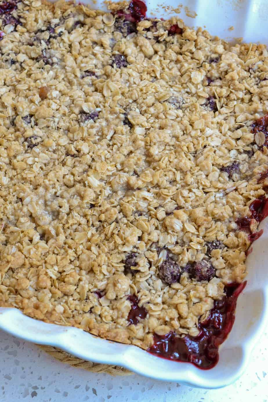 Straight out of the oven blackberry crisp with bubbly edges.