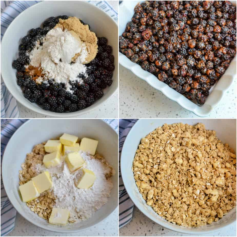 There are several steps to making blackberry crisp.