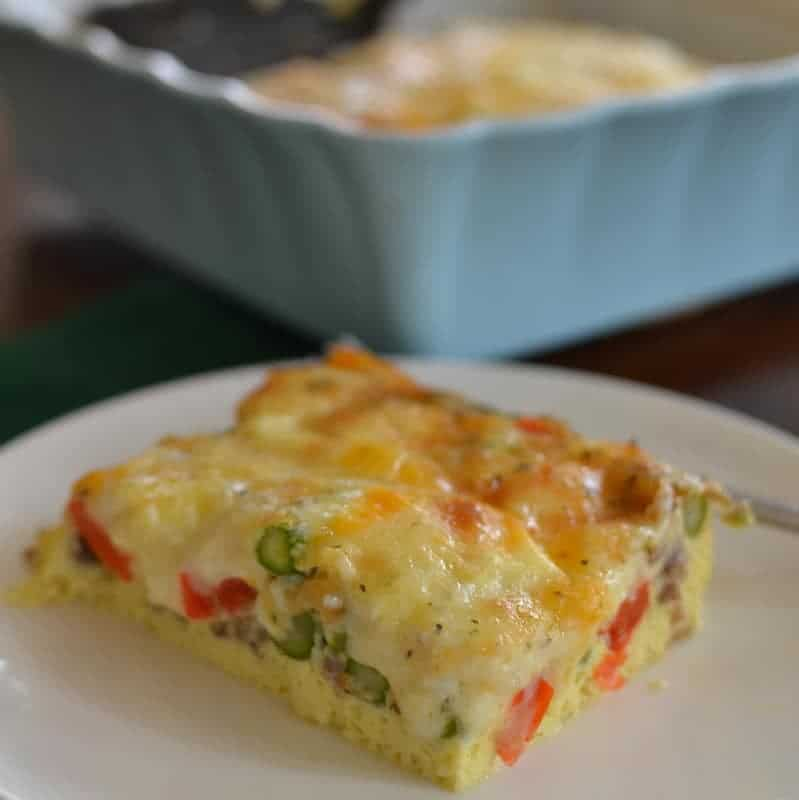packed with peppers, asparagus and cheese in every bite, this breakfast casserole is perfect for a weekend brunch