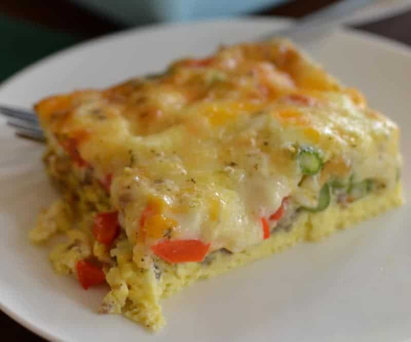 This delicious breakfast casserole has tender peppers and asparagus