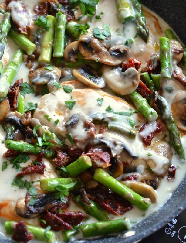 Creamy mushroom chicken topped with sun dried tomatoes and asparagus