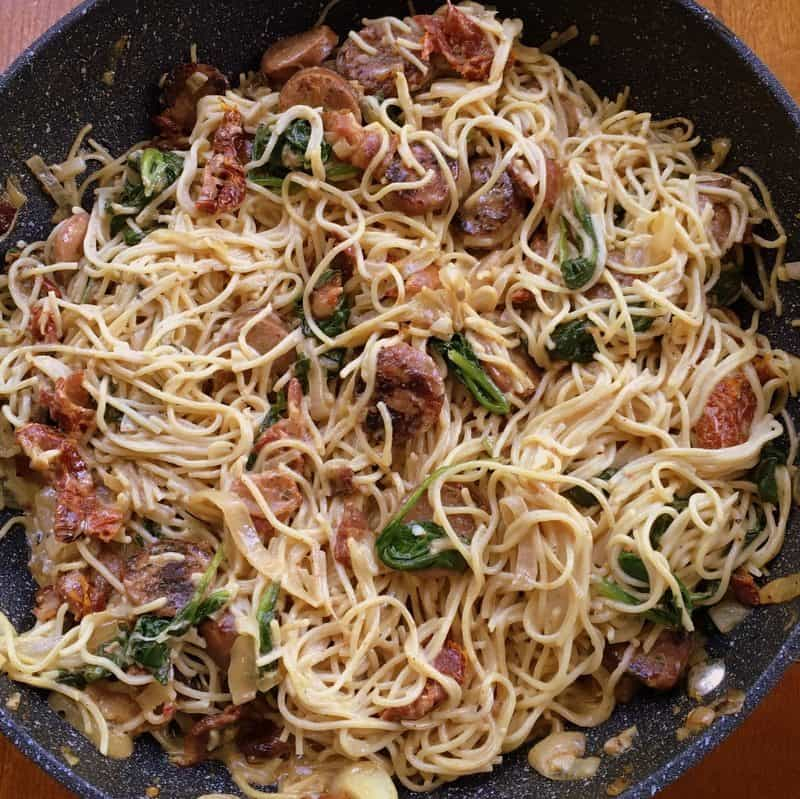 Rich and creamy sun dried tomato and sausage pasta is a satisfying pasta dish that will please a crowd