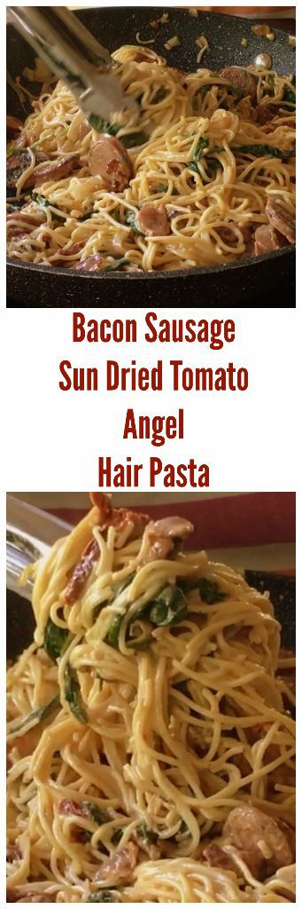 sun dried tomato and sausage pasta with bacon and spinach in a creamy cheesy sauce