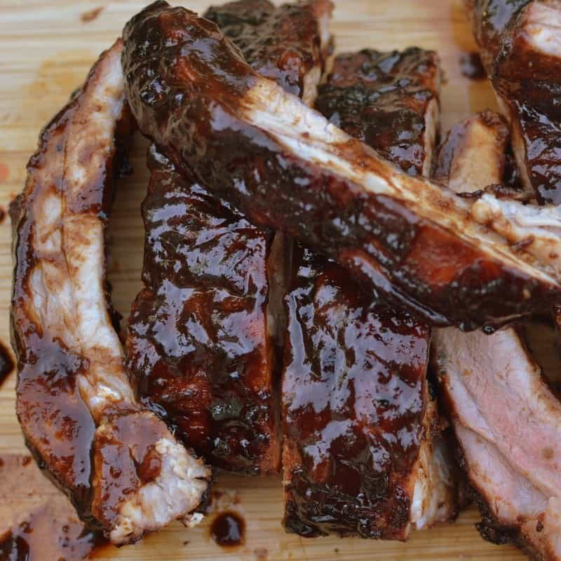 These tender pork ribs are coated with a sweet Balsamic Vinegar barbecue sauce