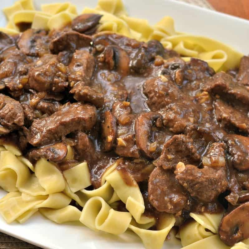 Tender beef and mushrooms in a red wine gravy.