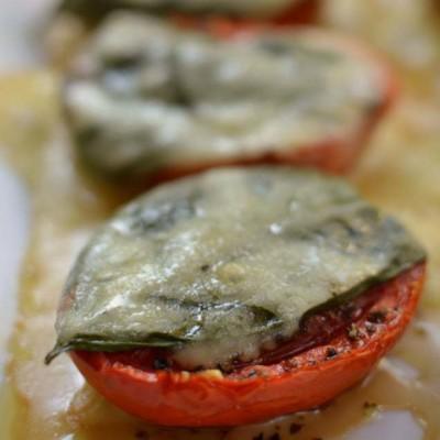 Mozzarella Basil Garlic Roasted Tomatoes