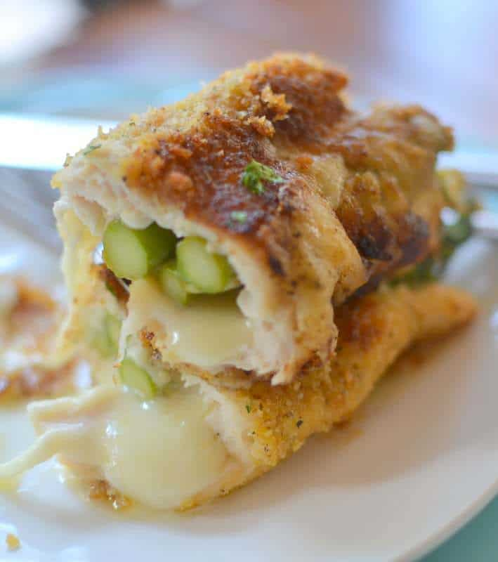 parmesan stuffed chicken with tender asparagus
