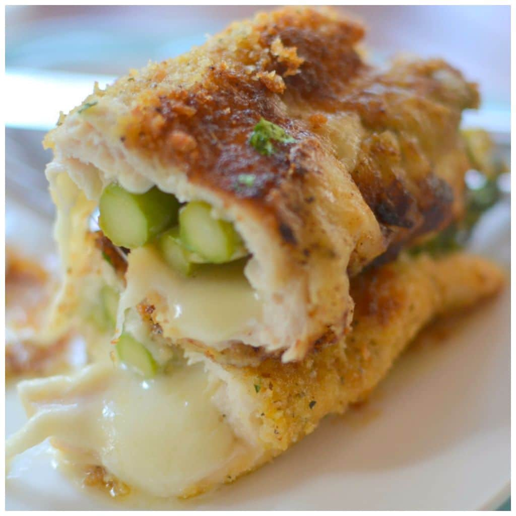 Chicken breast fillets stuffed with tender asparagus and parmesan cheese