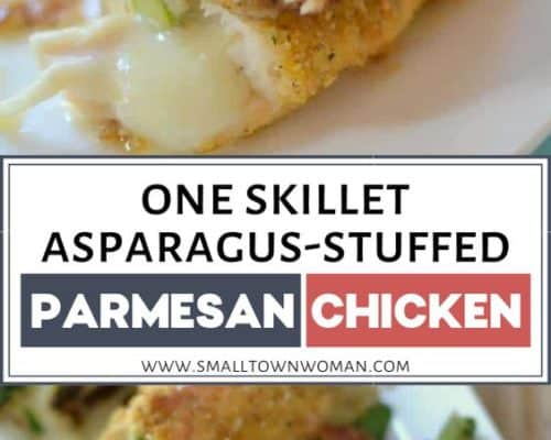 One Skillet Asparagus Stuffed Parmesan Chicken