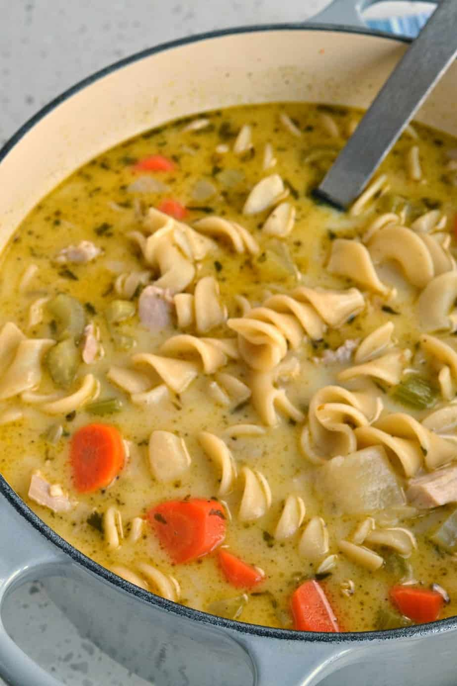 This Chicken Noodle Soup is plump full of sweet onion, celery, garlic, egg noodles and rotisserie chicken.