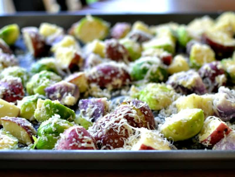 Oven Roasted Potatoes and Brussel Sprouts