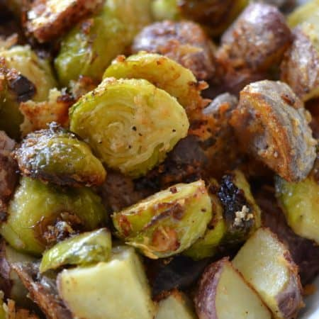 Crispy Parmesan Potatoes and Brussels Sprouts