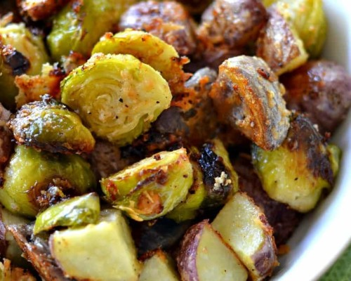 Roasted Potatoes and Brussels Sprouts
