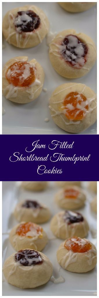 Apricot, Cherry, and Blackberry Jam-Filled Shortbread Thumbprint Cookies