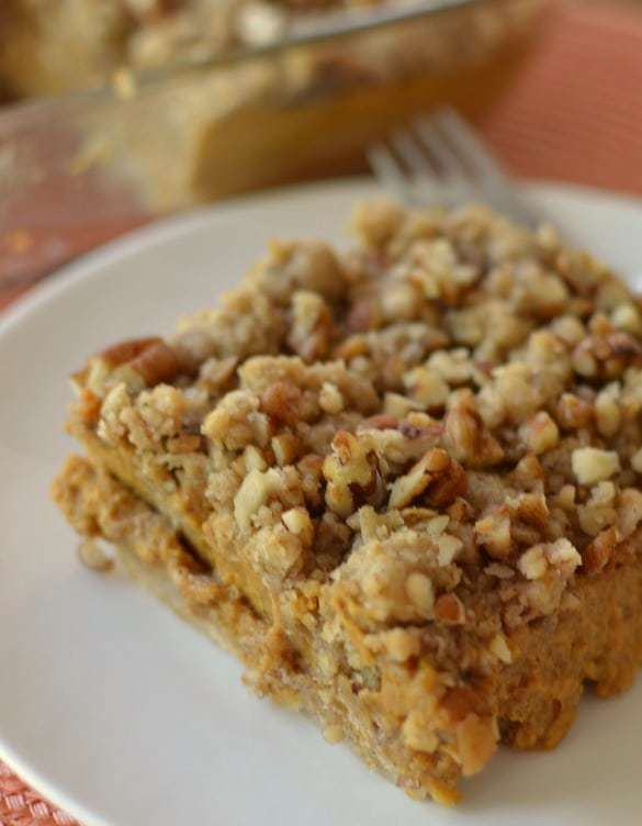 Sweet and creamy pumpkin filling with a crunchy pecan topping make these dessert bars the perfect holiday treat
