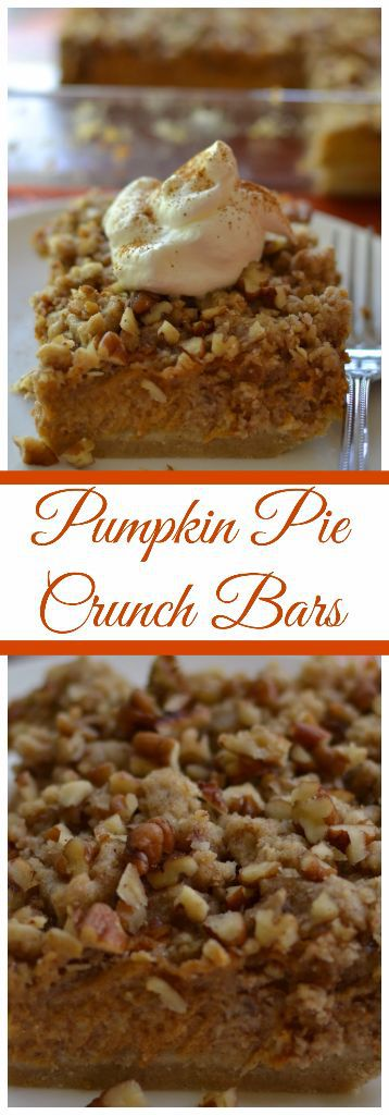 Crunchy Pecan Pumpkin Pie Bars are a perfect holiday treat