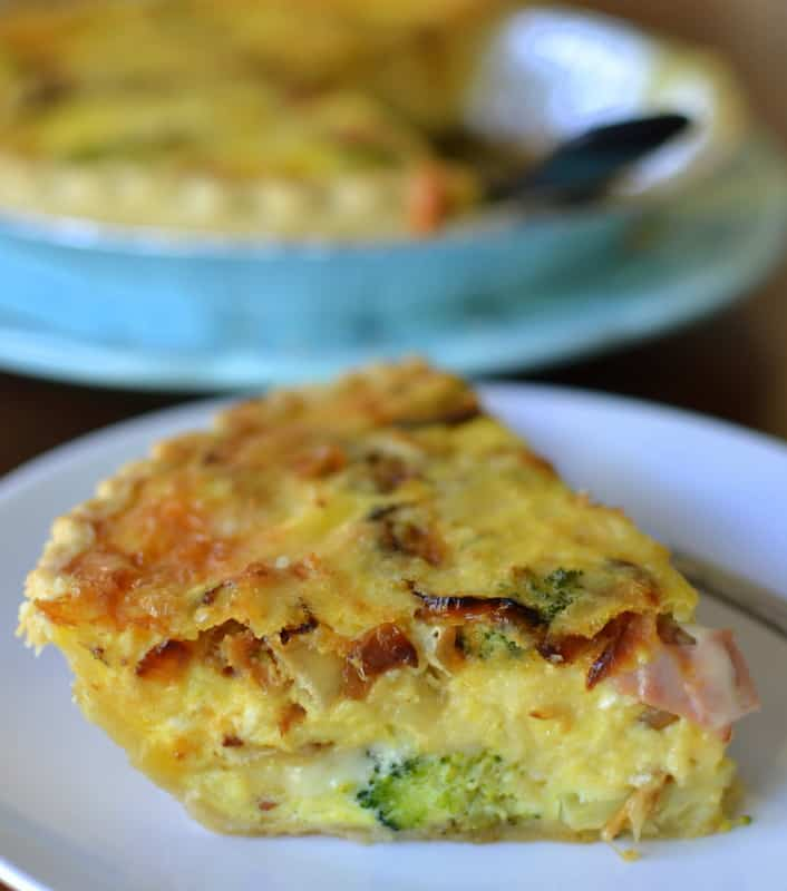 This ham and broccoli quiche with caramelized onions and cheese is the perfect savory brunch quiche