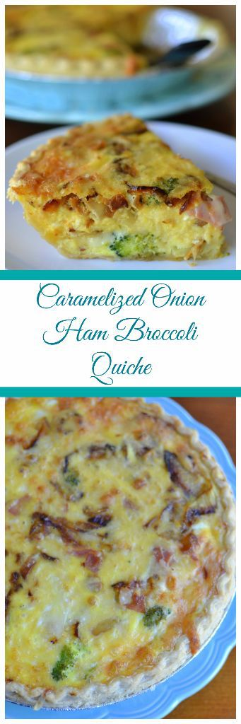 ham and broccoli quiche with sweet caramelized onions and cheddar cheese