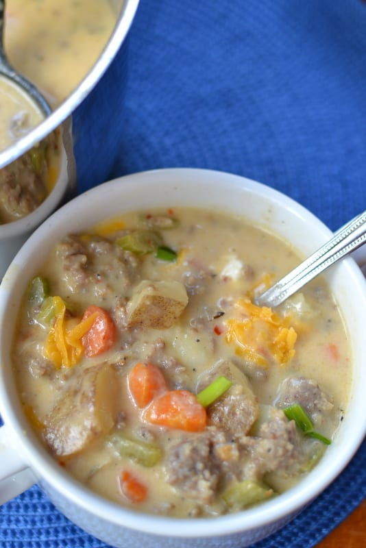 This creamy sausage and potato soup is a hearty, warming soup that's perfect for the cold season