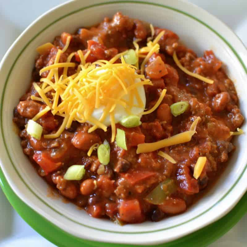 This hearty beef and bean chili recipe is perfect for a chilly night in with the family