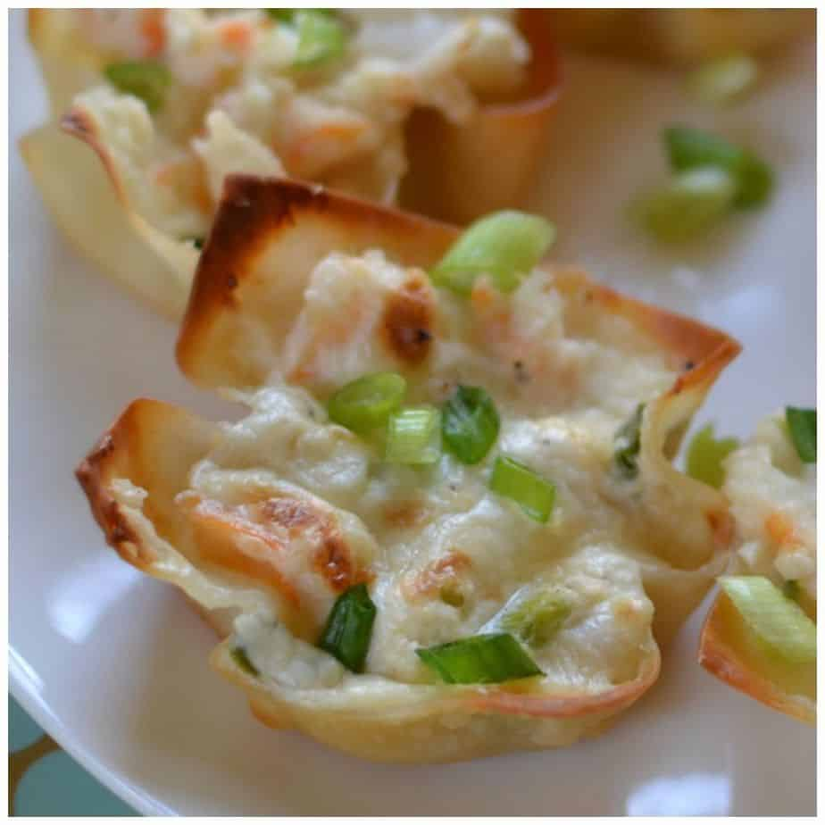 Triple cheese and shrimp wonton bites are sure to please as a party appetizer