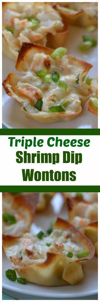 Triple Cheese and Shrimp Wonton bites