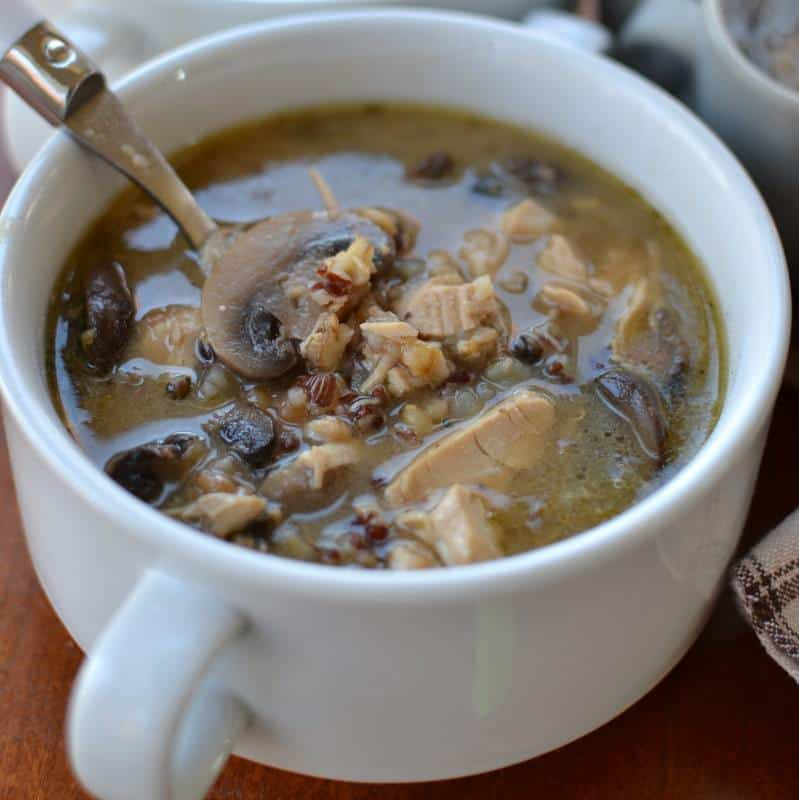 This satisfying and hearty turkey and wild rice soup has tender mushrooms in a perfectly spiced broth