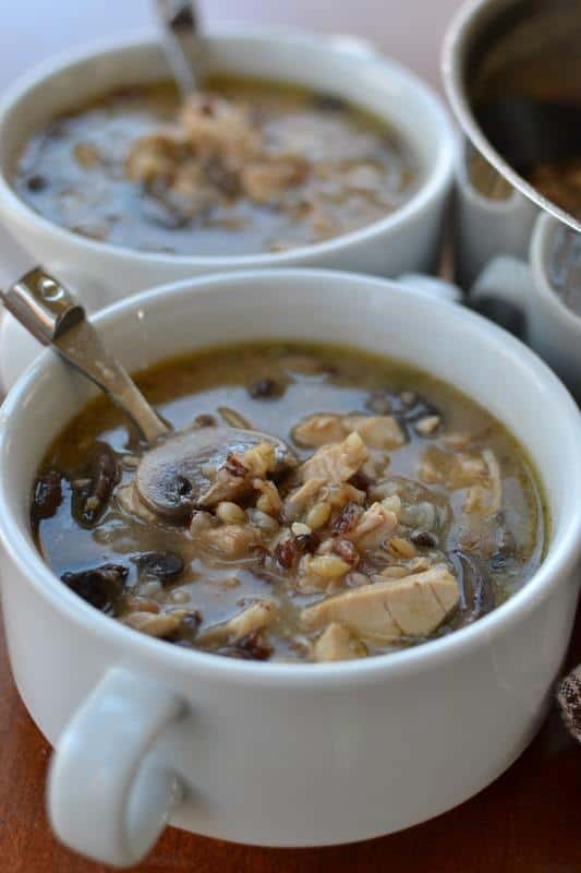 Warm up with a bowl of this hearty turkey and wild rice soup, loaded with tender turkey, mushrooms and veggies.
