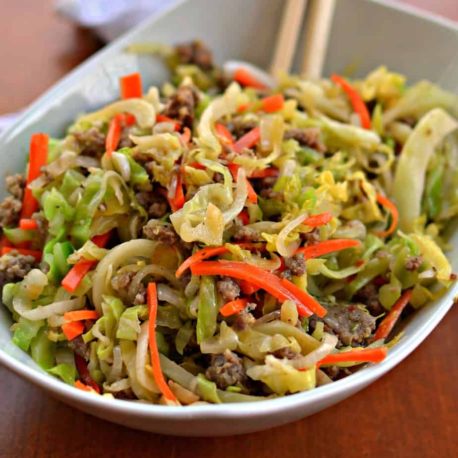 Egg Roll in a Bowl is tender cabbage tossed with lightly seasoned pork sausage.