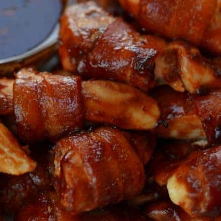 Sweet Bacon Wrapped Chicken Bites