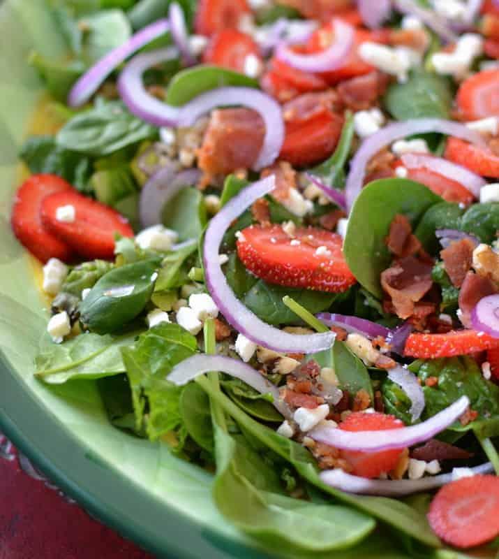 Spinach Salad with Warm Bacon Honey Mustard Vinaigrette ...