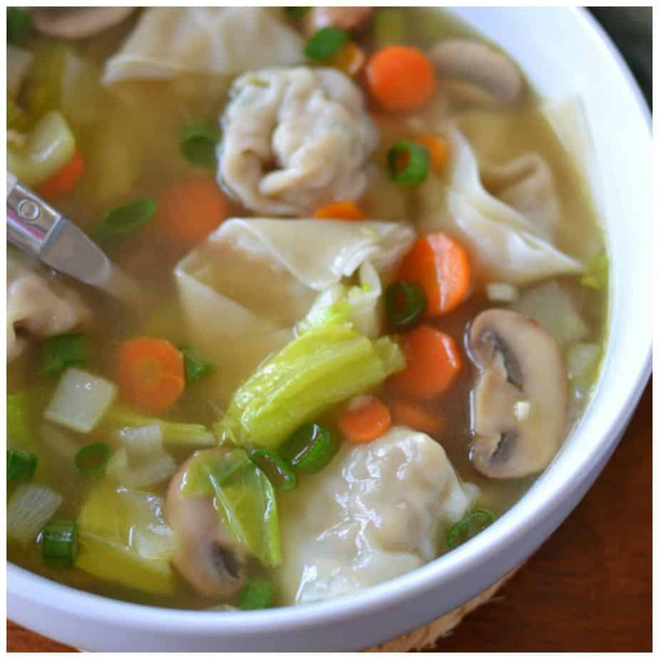Homemade Pork Stuffed Wonton Soup