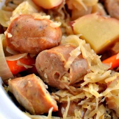 Slow Cooker Sauerkraut and Sausage