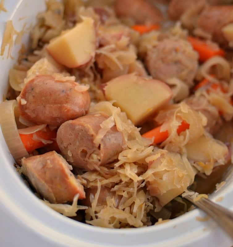 Slow Cooker Sausage Sauerkraut and Potatoes
