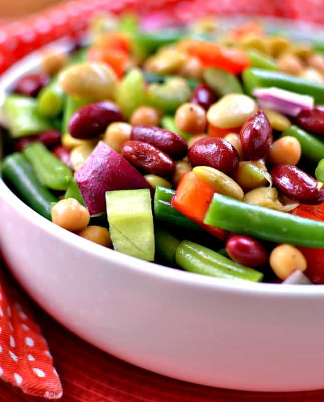 A quick and easy bean salad with a zesty sweet dressing that is perfect for all your spring and summer meals.