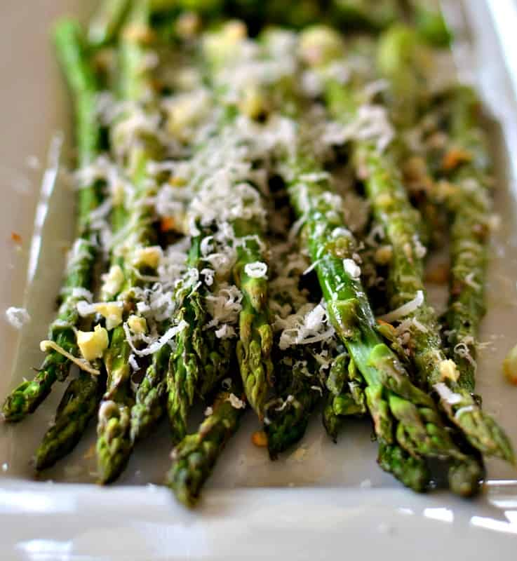 Family friendly oven roasted garlic Parmesan asparagus