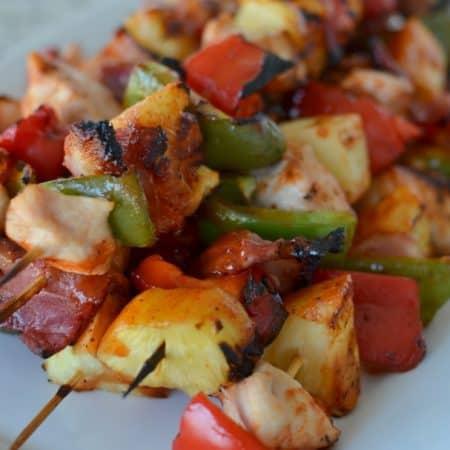 Chicken Bacon Pineapple Pepper Skewers