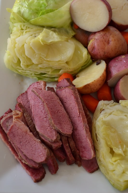 Instant Pot Corned Beef and Cabbage is the best way to prepare brisket.  Fork tender