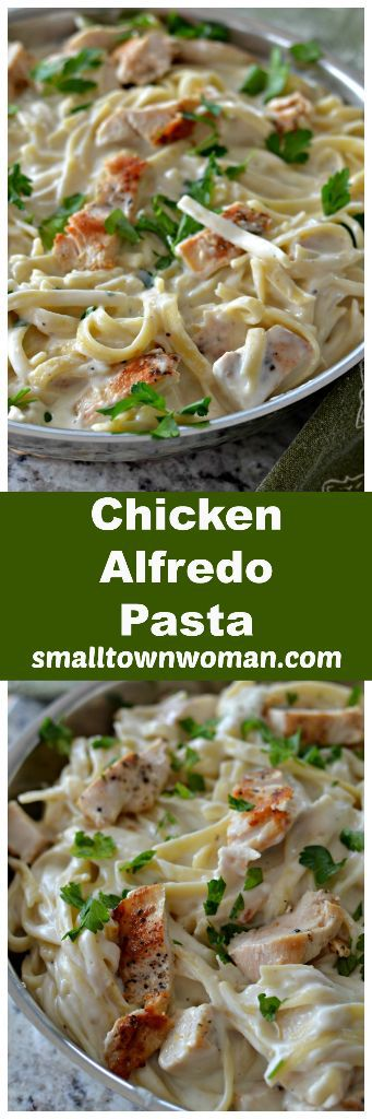 Easy Skillet Chicken Alfredo Pasta | Small Town Woman