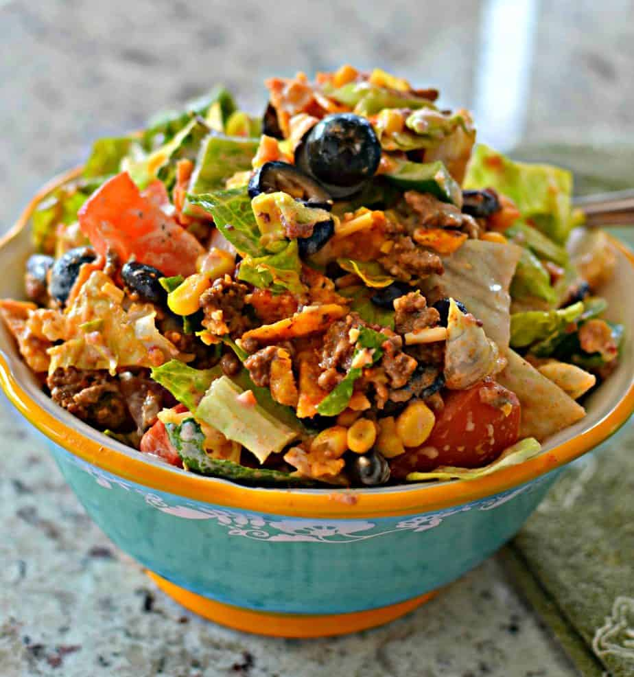 This fun family friendly Doritos Taco Salad is easy enough for a weeknight.